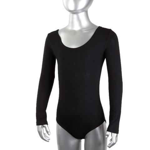 Купальник гимнастический х/б длинный рукав черный р. 28 купить оптом и в розницу