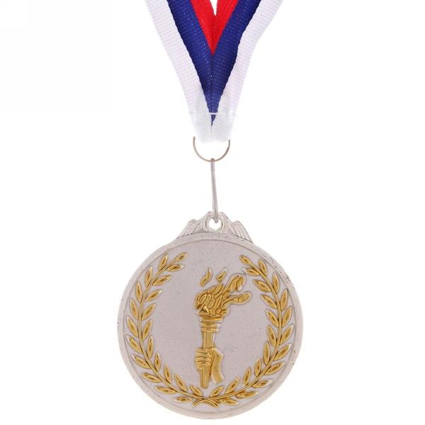 Медаль ″ Олимпийский огонь ″- 2 место (6,5см, два цвета) купить оптом и в розницу