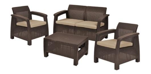 Набор мебели для сада Corfu set / zestaw 2 стула,диван,стол /темно-сер./серый с подушками купить оптом и в розницу