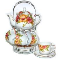 Набор чайный 13 предметов ″Мак″ (6 чашек, 6 блюдец, чайник) купить оптом и в розницу