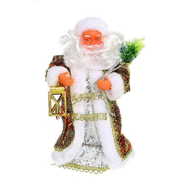 Дед Мороз музыкальный 25см с фонарем в золотой шубе купить оптом и в розницу