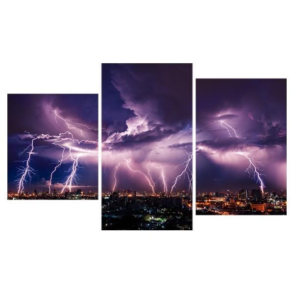 Картина модульная триптих 55*96 см, молния в ночном городе купить оптом и в розницу