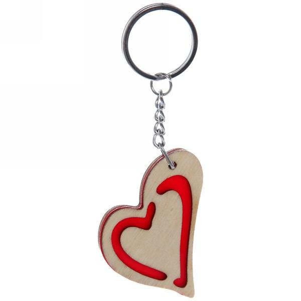 Брелок из дерева ″Деревянный калейдоскоп″ Сердце, 5см купить оптом и в розницу