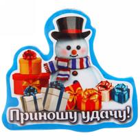 Магнит винил ″Приношу удачу!″, Снеговичок купить оптом и в розницу