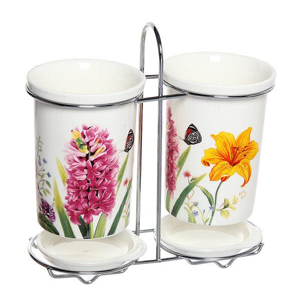 Подставка для кухонных приборов двойная ″Полевые цветы″ купить оптом и в розницу
