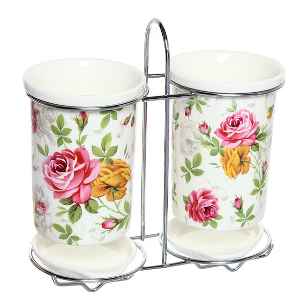 Подставка для кухонных приборов двойная ″Розы″ купить оптом и в розницу