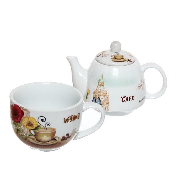 Набор чайный керамический 2 предмета (чайник 250мл +кружка 250мл) в подарочной упаковке 6001-2 купить оптом и в розницу