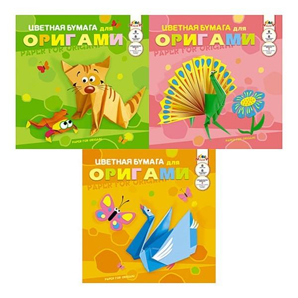 Бумага цветная для оригами 30х30см, 8л, 8цв, папка, КТС в ассорт.(″Лебедь″, ″Павлин″) купить оптом и в розницу