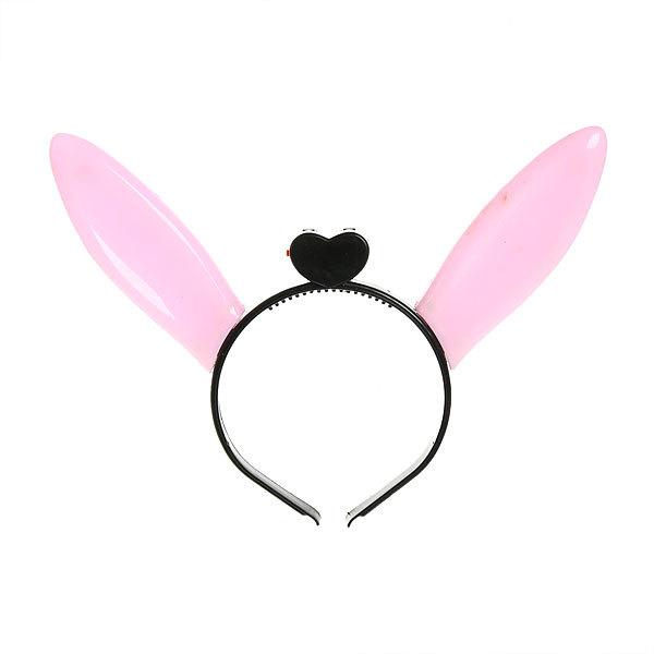 Ободок карнавальный с подсветкой ″Уши Зайца″ розовые-белые купить оптом и в розницу