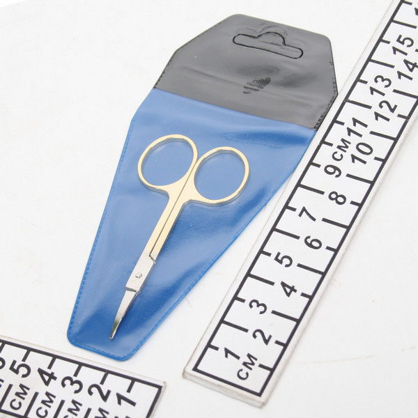 Ножницы маникюрные в чехле ″Эстетика″, круглые кольца, ручки цвет золото, тонкие купить оптом и в розницу