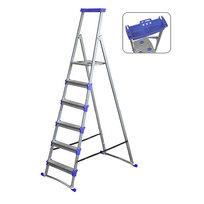 Стремянка металлическая 6 ступеней, высота до платформы 1305 мм, вес 9,1 кг, до 150 кг, для рыхлых поверхностей СМ6+ НИКА купить оптом и в розницу
