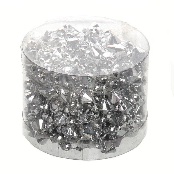 Бусы на ёлку серебро 5м ″Ромбики и зеркальные шарики″ купить оптом и в розницу