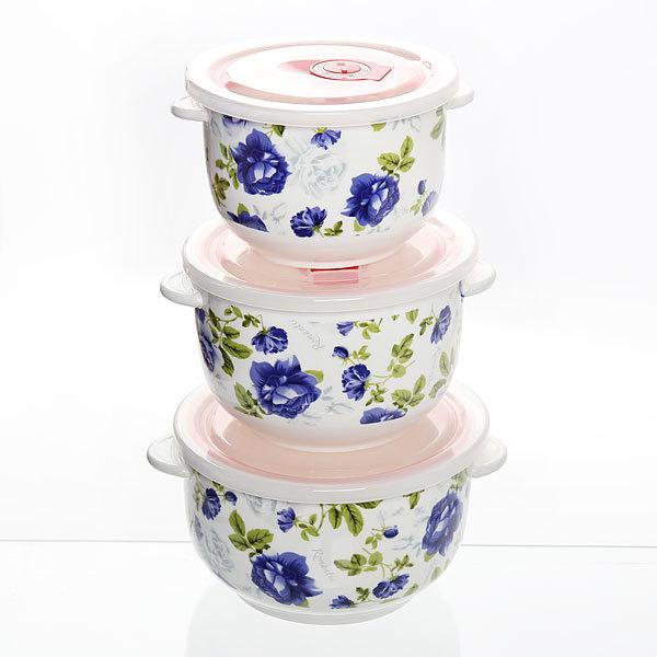 Набор салатников керамических 3шт с крышками ″Розалия″ ВН01 купить оптом и в розницу
