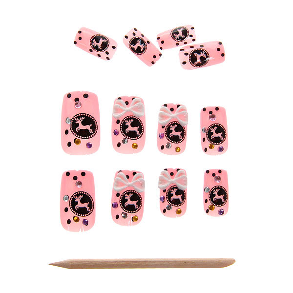 Ногти накладные в картонной коробке ″Модница - аппликации″, с маникюрными палочками, без клея купить оптом и в розницу