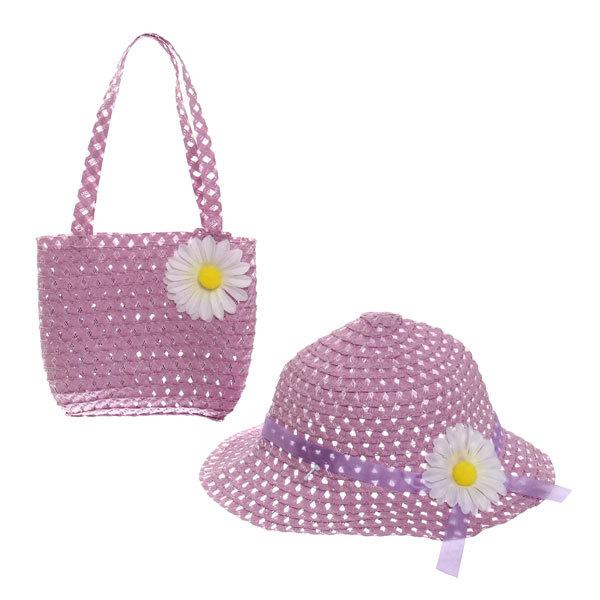 Шляпа в наборе с пляжной сумочкой ″Солнечное лето″, цвет фиолетовый купить оптом и в розницу