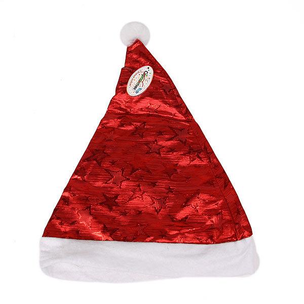 Колпак новогодний, красный ″Звездочки″ 28*38см купить оптом и в розницу