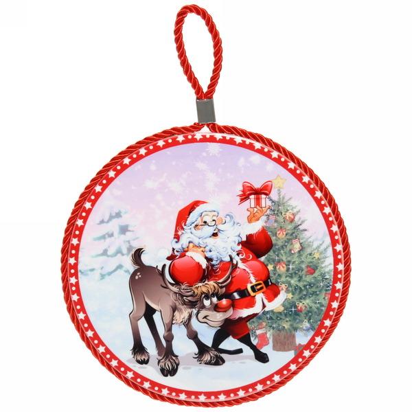 Подставка под горячее керамическая ″Дед Мороз с оленем″ 16см купить оптом и в розницу