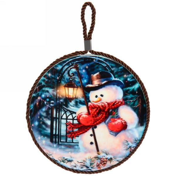 Подставка под горячее керамическая ″Снеговик с фонариком″ 16см купить оптом и в розницу