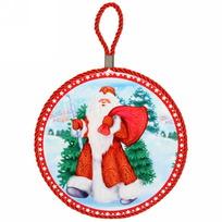 Подставка под горячее керамическая ″Дед Мороз с подарками″ 16см купить оптом и в розницу