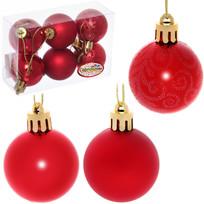 Новогодние шары 4 см (набор 6 шт) ″Микс фактур″, красный купить оптом и в розницу