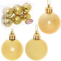 Новогодние шары 4 см (набор 6 шт) ″Микс фактур″, золотой купить оптом и в розницу