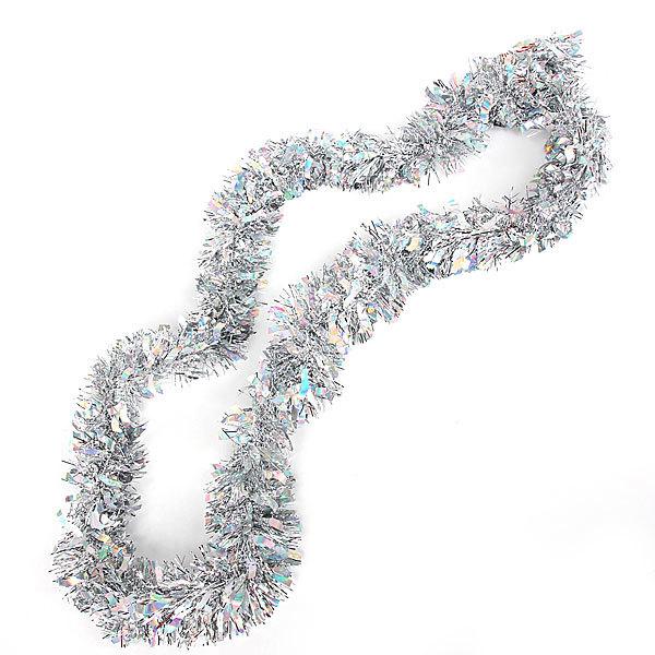 Мишура новогодняя 2 метра 9см ″Классика″ серебро купить оптом и в розницу
