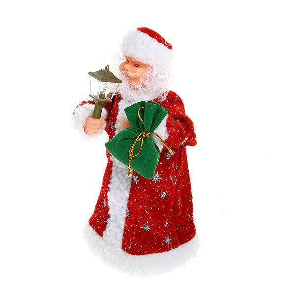 Дед Мороз музыкальный 25см с фонарем в красной шубе купить оптом и в розницу