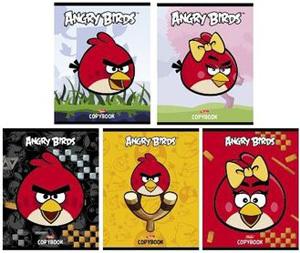 """Тетрадь 48л.кл.скрепка HATBER, """"Angry Birds"""", флок купить оптом и в розницу"""