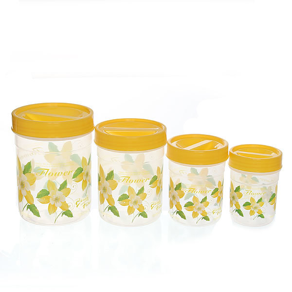 Набор банок для продуктов пластиковых ″Селфи″ 4 шт 200,400,600,1000 мл купить оптом и в розницу