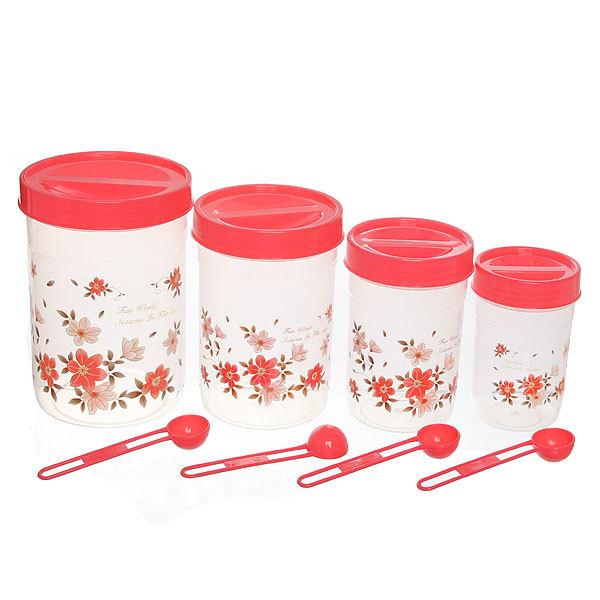 Набор банок для продуктов пластиковых ″Селфи″ 4 шт 300,600,800,1200 мл красный купить оптом и в розницу