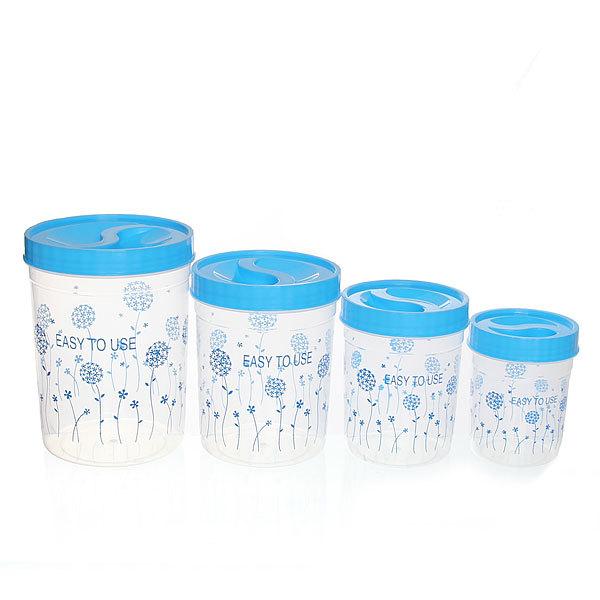 Набор банок для продуктов пластиковых ″Селфи″ 4 шт 300,600,1000,1500 мл ″Одуванчик″ купить оптом и в розницу