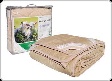 Одеяло 140х205 овеч. шерсть, тик Адамас купить оптом и в розницу