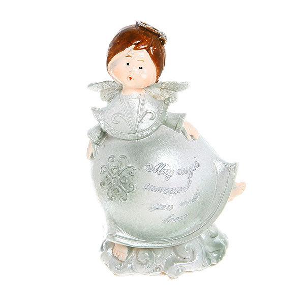 Фигурка ″Ангелочек серебряный″с пожеланием 9,5*6,5см купить оптом и в розницу