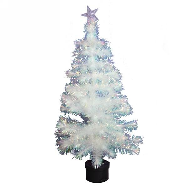 Елка светодиодная 90 см белая оптоволокно + снежинки 14LED со звездой 5LED купить оптом и в розницу