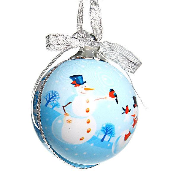 Новогодний шар ″Снеговики″ 7см купить оптом и в розницу