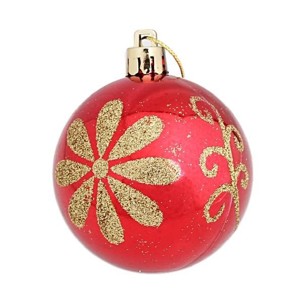 Новогодние шары ″Золотой цветок″ 6см (набор 6шт.) купить оптом и в розницу