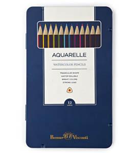 """Цв.каранд.12цв.аквар.BRUNO VISCONTI """"Aquarelle"""", трехгран., в метал.пенале купить оптом и в розницу"""