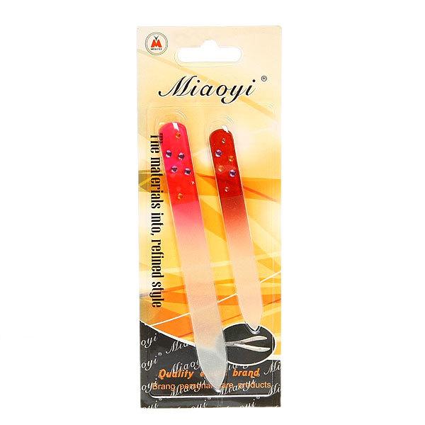 Пилка для ногтей стеклянная на блистере ″Эстетика, в наборе 2шт, цветная ручка со стразами, цвет микс купить оптом и в розницу