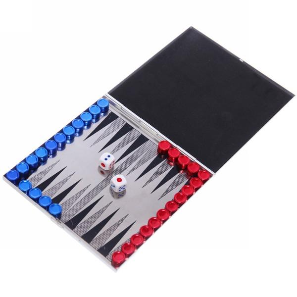 Игра настольная магнитная ″Нарды″ сине-красные 14*14 см в метал. коробке купить оптом и в розницу
