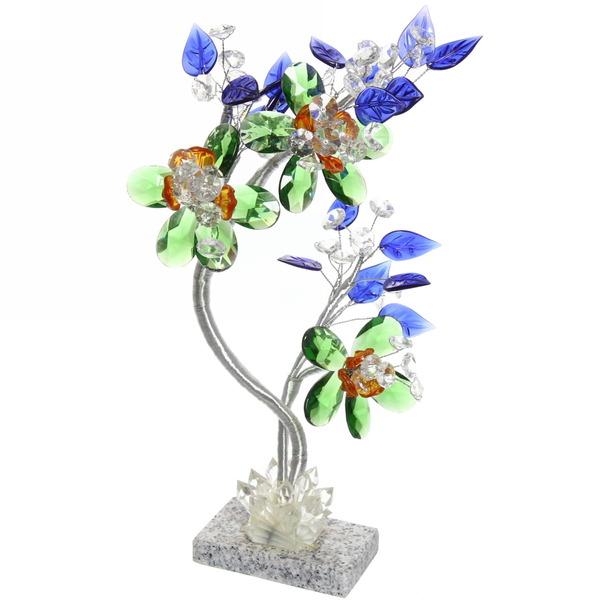 Фигурка стекло Дерево любви, синие лепестки купить оптом и в розницу