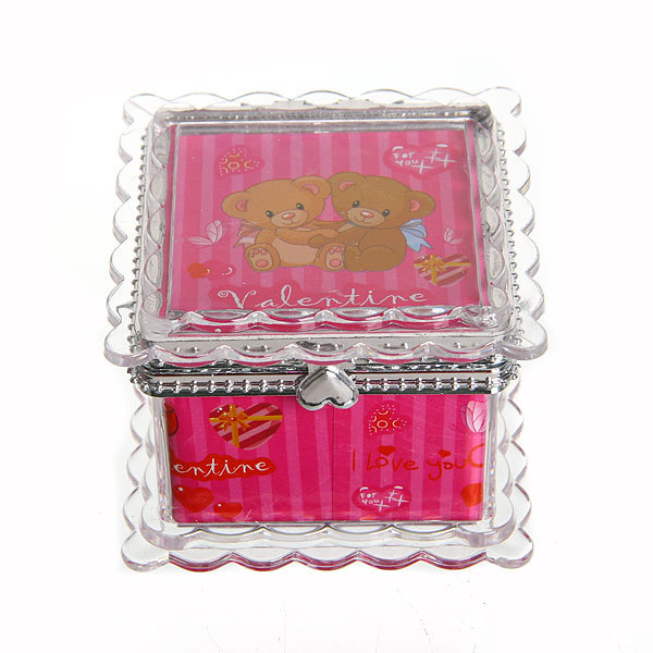 Шкатулка из пластика ″Мишки″ квадрат 6*6*5 см купить оптом и в розницу