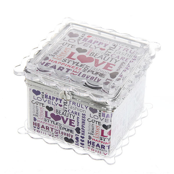 Шкатулка из пластика ″Любовь″ квадрат 7,5*7*6 см купить оптом и в розницу