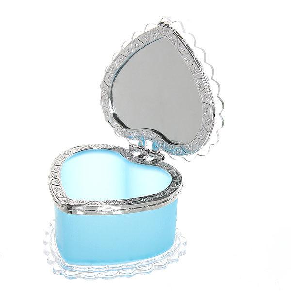 Шкатулка из пластика ″Сердце с бабочкой″ с зеркалом 8*8*6 см купить оптом и в розницу
