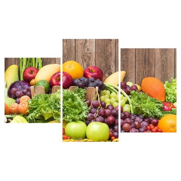 Картина модульная триптих 55*96 см, натюрморт, овощи и фрукты купить оптом и в розницу
