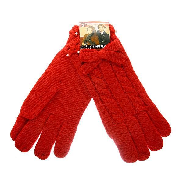 Перчатки женские утепленные ″Жемчужинки″ цвет красный, h-23см (баранья шерсть) купить оптом и в розницу