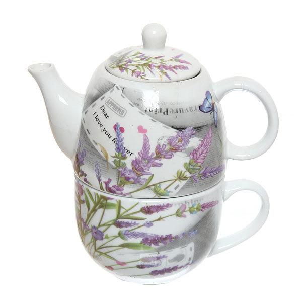 Набор чайный керамический 2 предмета (чайник 250мл +кружка 250мл) в подарочной упаковке ″Сирень″ купить оптом и в розницу