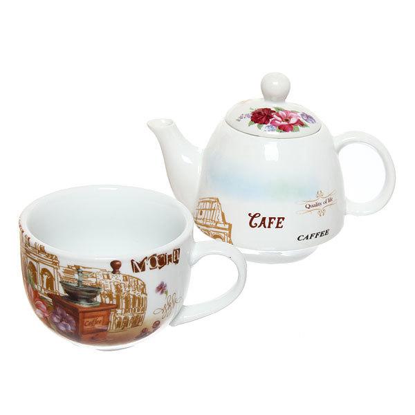 Набор чайный керамический 2 предмета (чайник 250мл +кружка 250мл) в подарочной упаковке ″Кафе″ купить оптом и в розницу