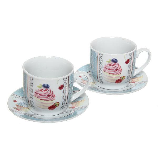 Чайный набор 4 предмета 180мл ″Пирожное″ купить оптом и в розницу