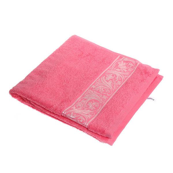 Махровое полотенце 70*140см карамельный розовый с бордюром ЭК140 купить оптом и в розницу