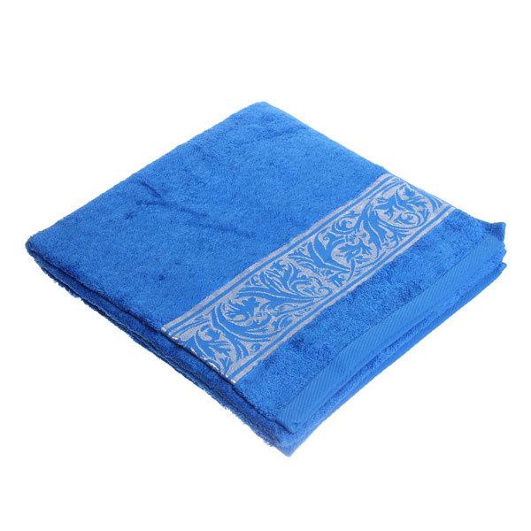 Махровое полотенце 70*140см синее с бордюром ЭК140 купить оптом и в розницу